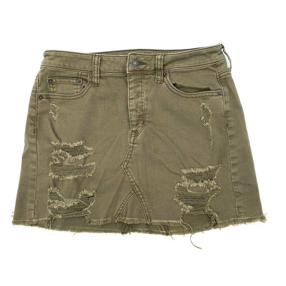 American Eagle Green Distressed Jean Mini Skirt 4